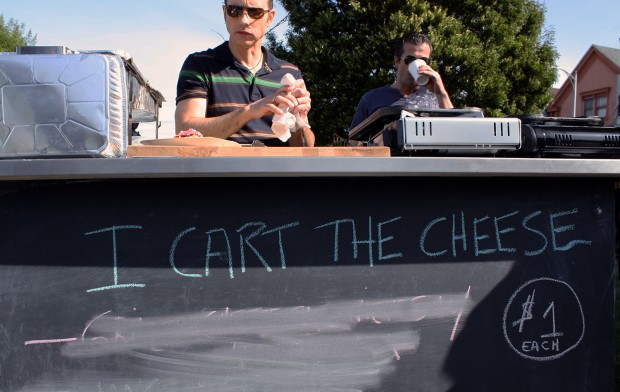 In 2010, Brian Boitano sold delcious dairy good including mac and cheese and  grilled cheese sandwiches at his food cart in Precita Park. Photo by Heather Smith.