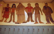 Cutouts in the hallway at Horace Mann.  Photo by Lola Chavez