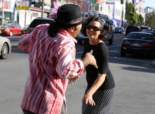 Brooke Cooley and friend, dancing on Valencia Street.
