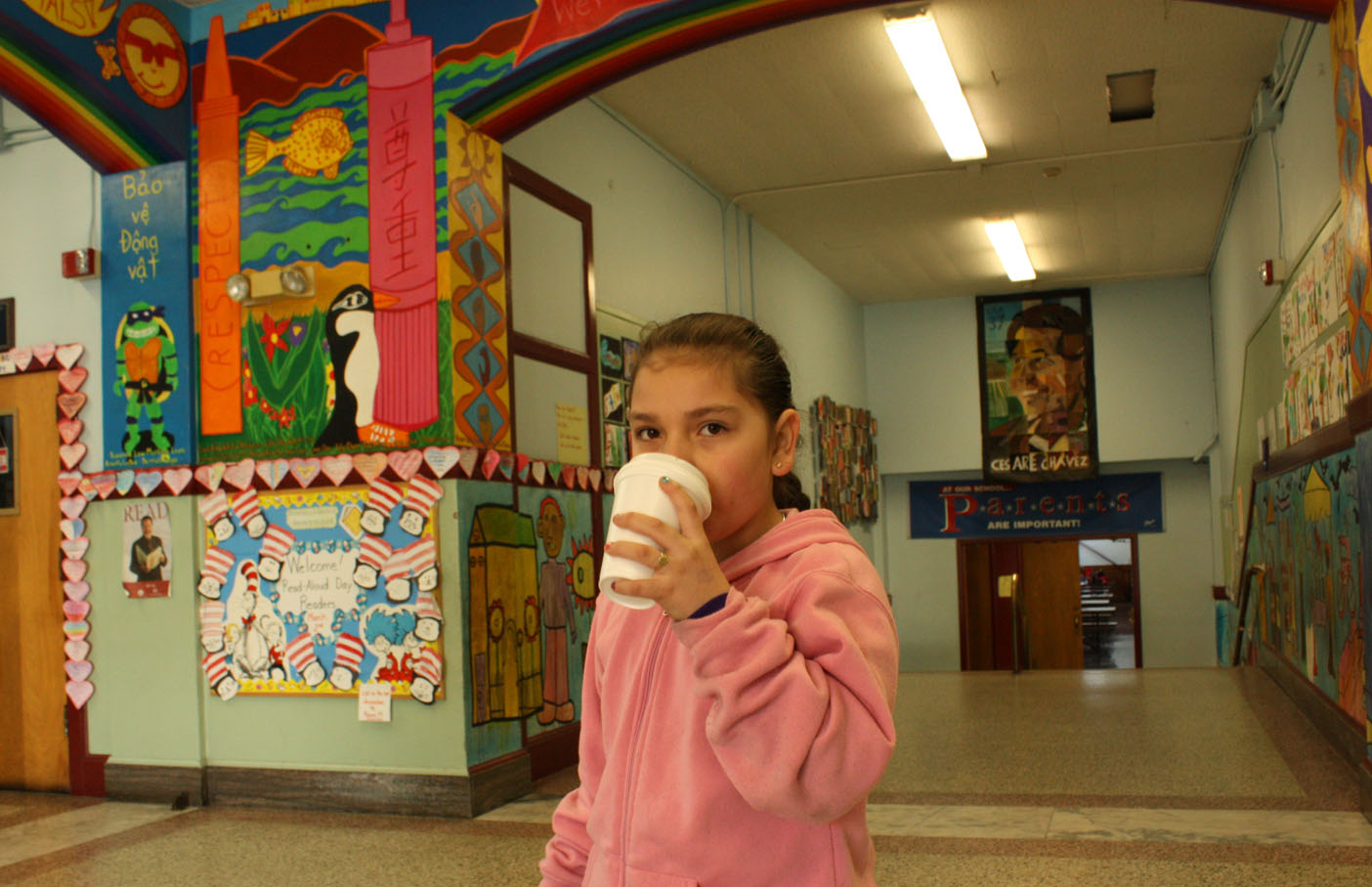 Amarelis Raygoza, a second-grader at Cesar Chavez, walked to school with her mother Carmen.
