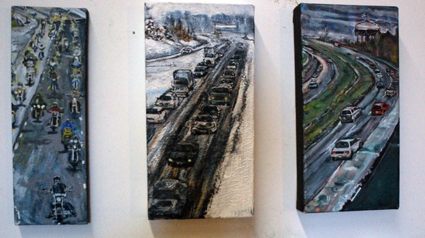Tony Papini paints freeways and traffic.