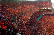 """The ballpark was a sea of orange """"wearable blankets"""" at Friday's game. (Photo by Rigoberto Hernandez)"""