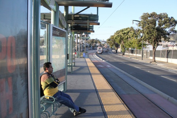 Richard Martinez waits over 20 minutes at the end of the T-Third Street line Friday at 7:30 p.m. on Bayshore Boulevard and Sunnydale Avenue