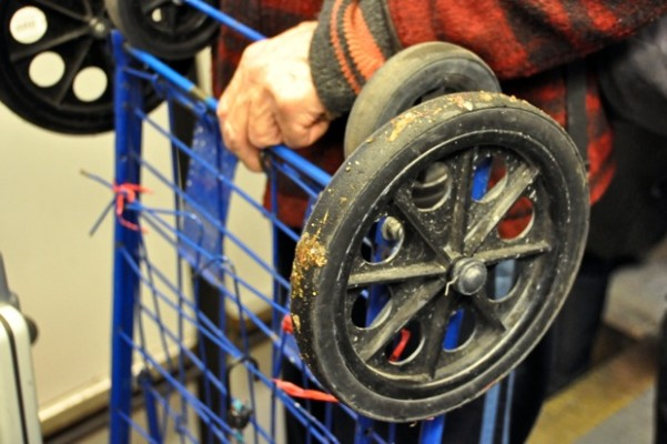 """""""I'm going to take the wheels off of this cart that I found, and put on better ones."""""""