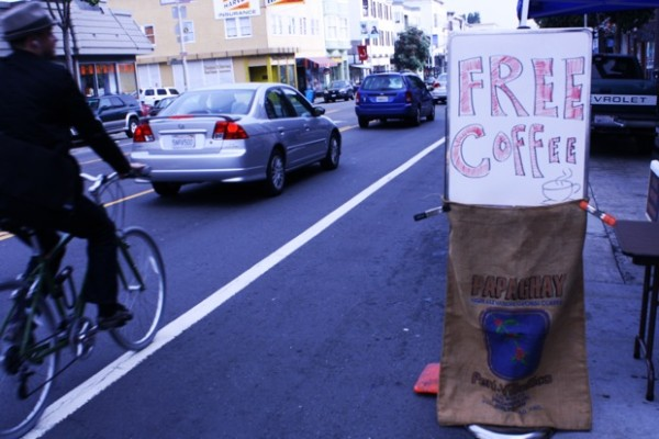 More free coffee, courtesy of the Valencia Cyclery and Papachay Coffee.