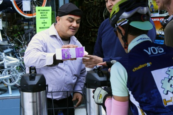 Maximillano Gambrizaio owns a coffee plantation in Peru, roasts it in San Carlos, California. His brother works at Valencia Cyclery.