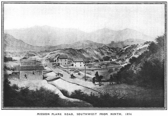 The Mission Plank Road- for a fee, merchants could bypass the wetlands and sand dunes surrounding the Mission, and move goods between the Mission and the Harbor.