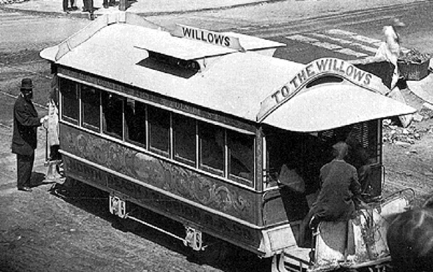 A streetcar ferries would-be drinkers to The Willows. Photo courtesy of Found SF.
