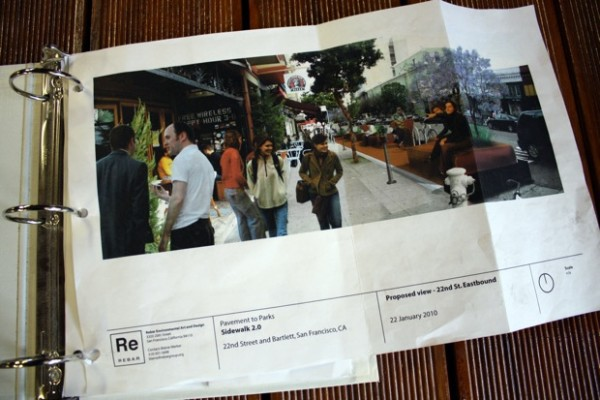 Proposed view of the parklet. It will fill in the parking spaces in front of Revolution Care, Escape from New York Pizza, and Lolo.