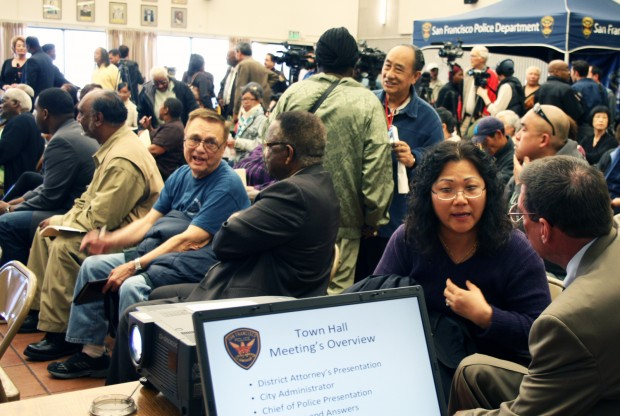 Bayview residents congregate before townhall meeting.