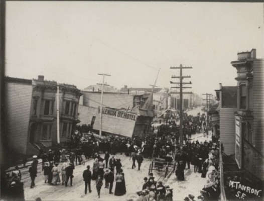 In the 1906 earthquake, a four-story hotel built on the former site of The Willows sank three floors down into the earth. Photo courtesy of Found SF.
