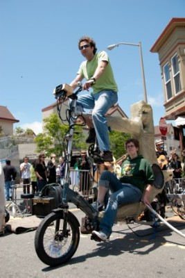 For sound, the fundraiser depended on volunteers who pedaled to power the sound equipment for Rock the Bike.