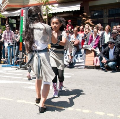The dancers were from the Marsh Theater, which was celebrating its 20th Anniversary across the street on Valencia.