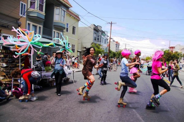 They're part of a troupe called the California Organization of Rollerskating Arts (CORA)