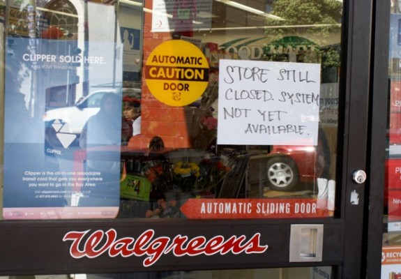 Walgreens at the corner of 23rd and Mission streets closed down temporarily. Around 4:45 p.m. the store resumes business when the power came back up.