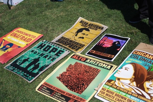 Political posters on sale as fundraisers to benefit Corazon del Pueblo.