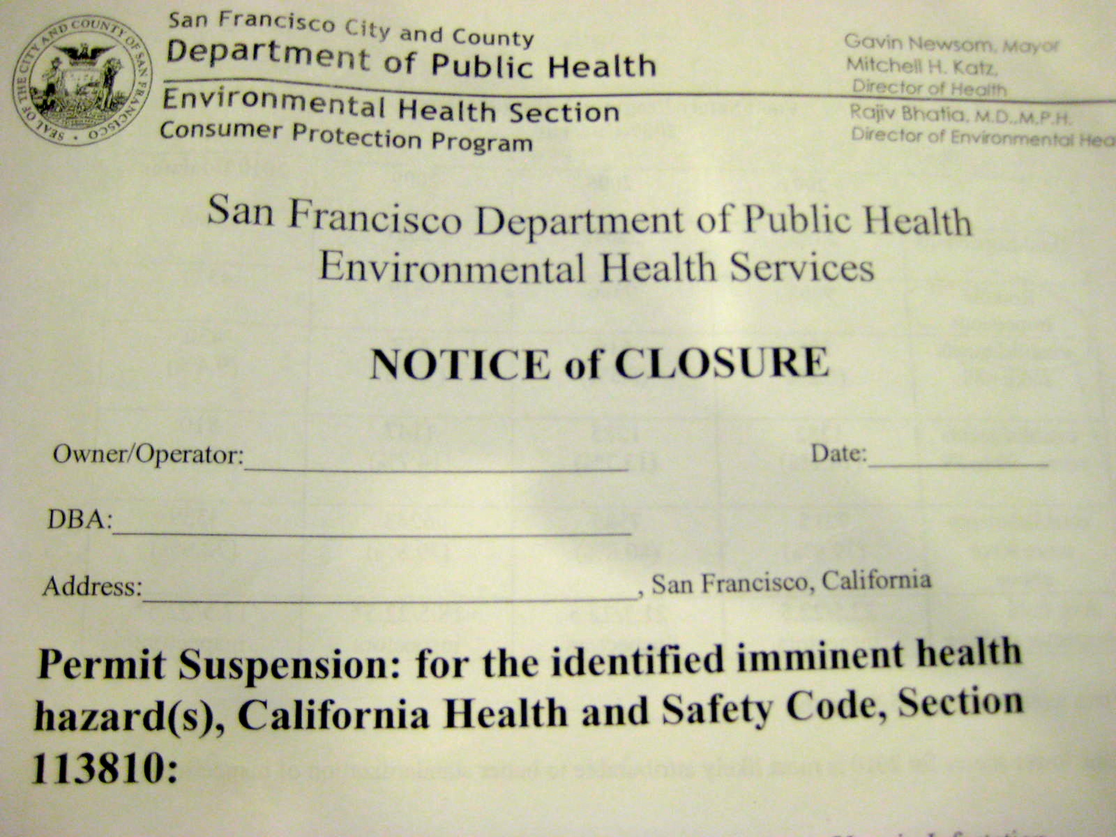Health Department to Post Public Closure Notices, Support More Transparency on Scores