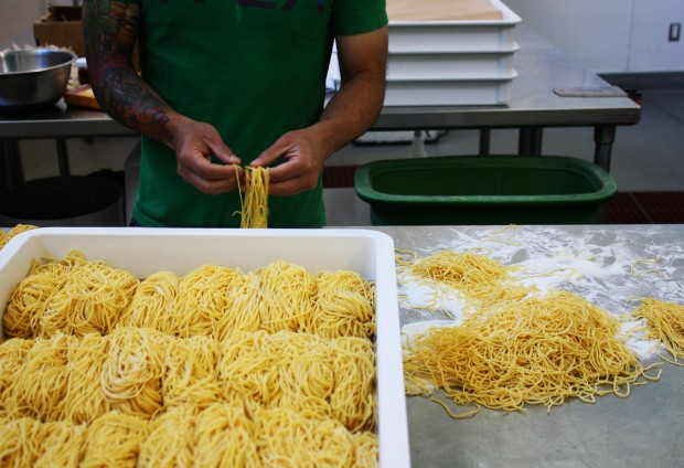 Richie Nakano of Hapa Ramen sorts noodles at La Cocina.