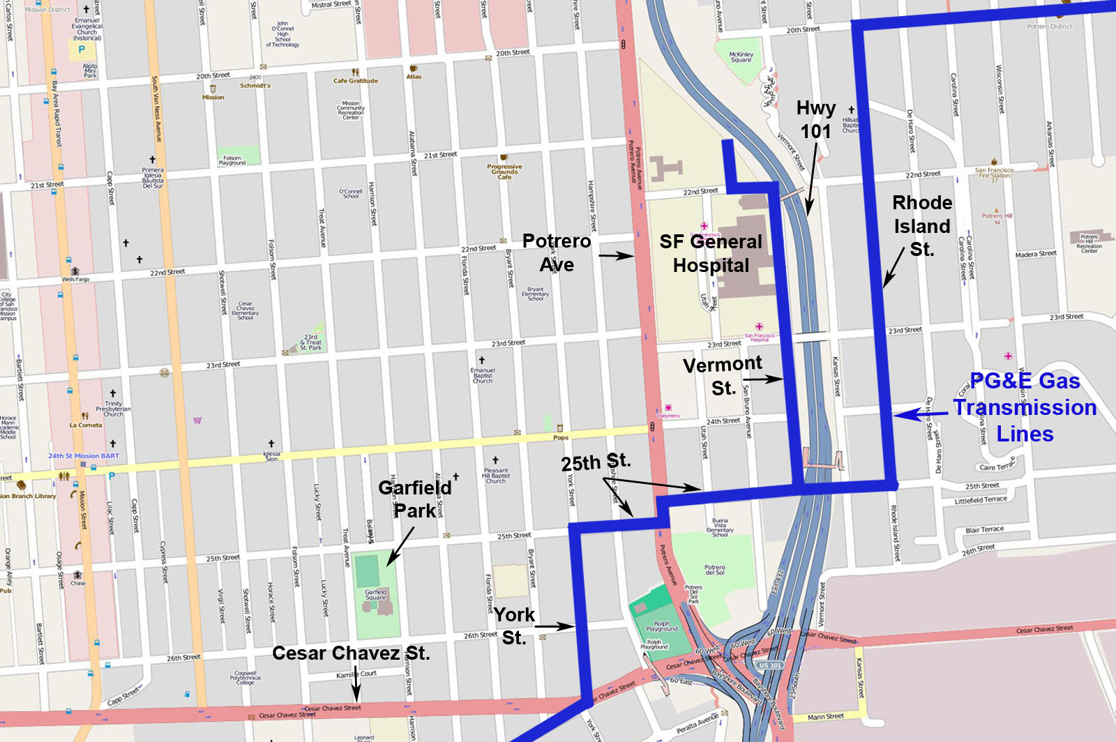 PG&E Pipelines in the Mission