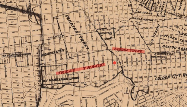 """An official map of San Francisco produced in 1870 shows the approximate original location of the Treat home (red dot) clearly within the parameters of an area marked """"Treat Tract"""". George Treat owned an adjacent plot that encompassed the area occupied today by San Francisco General Hospital in Potrero Avenue. Map courtesy of San Francisco..."""