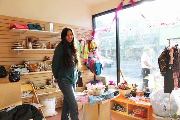 Chrystos Cusigch and her store, Yatere Organics, inside MEDA's new El Mercado marketplace at 19th and Mission Street.
