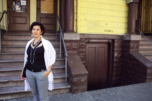 Adriana in front of her apartment building in the Mission.