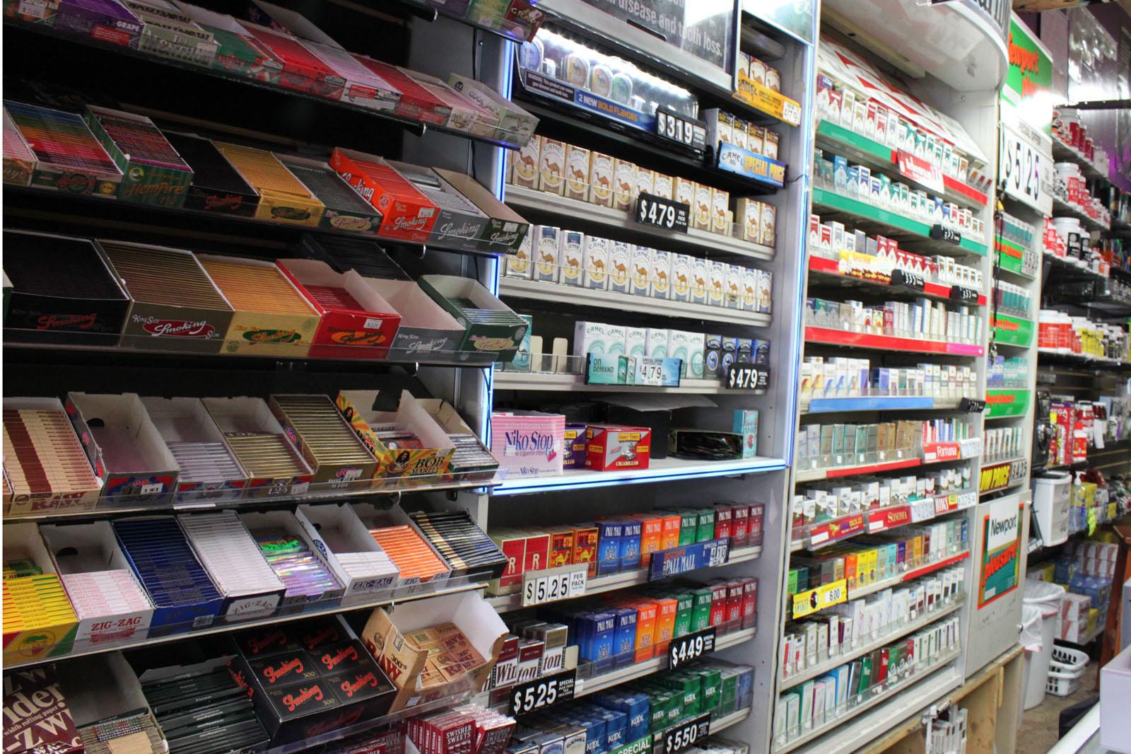 The counter at Walla's Smoke Shop