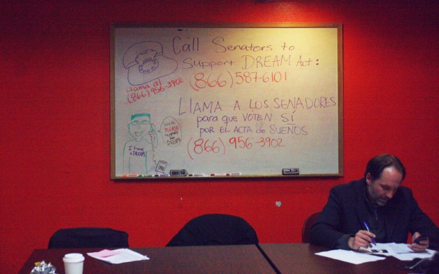 One of the last phonebankers of the night at Dolores Street Community Services