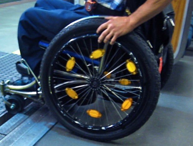 Ralf Hotchkiss demonstrates how the gap between BART trains and platforms may be difficult for some wheelchairs.