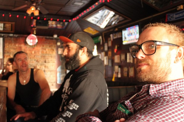 Patrick, Rob, and Shawn (left to right) enjoy their afternoon drinks at the 500 Club, and offer their hard-earned wisdom about love.