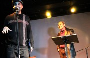 Roberto Ariel Vargas and father Roberto Vargas participated in the celebration's poetry reading.