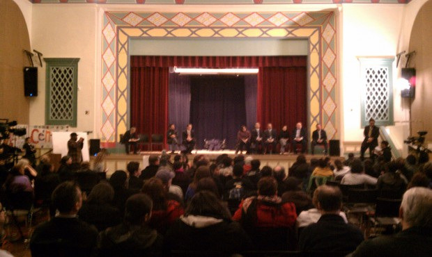 In the auditorium of Horace Mann Middle School - a whole lotta people. After the meeting, there was coffee and lemonade.