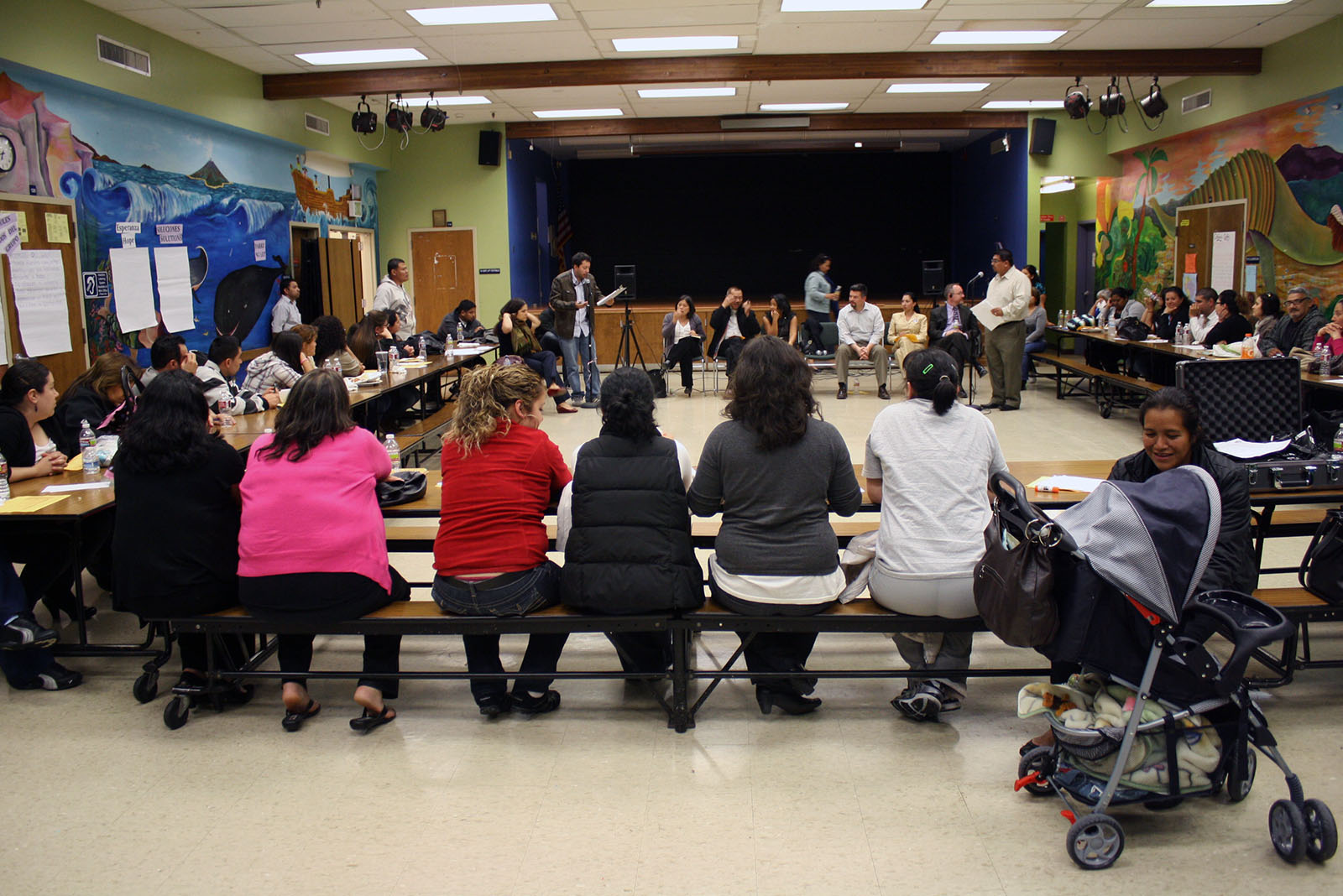 At the meeting, the SFUSD board was surrounded by anxious parents at cafeteria tables.