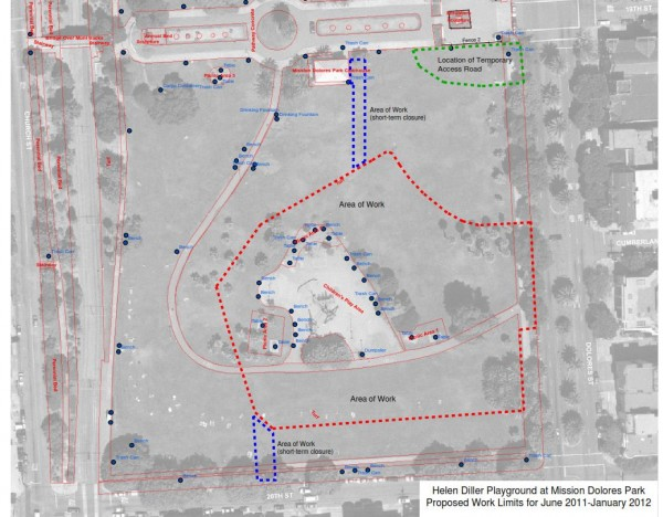 Sketch of the areas of work which will be fenced during the construction phase. The access road is in green and in the top right corner of the map. Courtesy of Rec and Parks Department.
