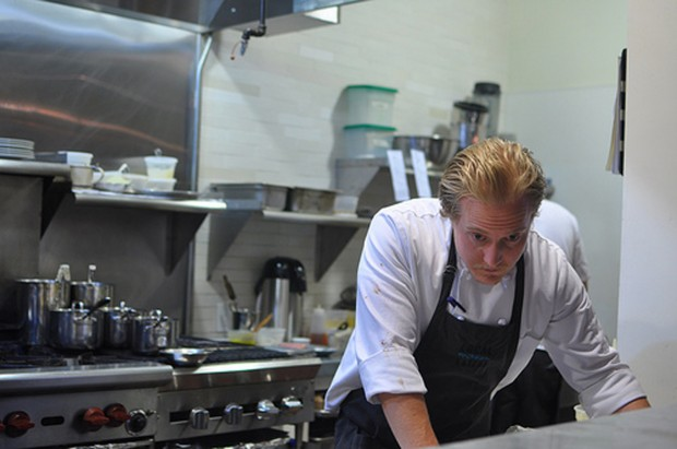 Ryan Sitko pondering a cooking issue at Local Mission Eatery. (Photo by Jesse Friedman)