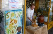 Patrick Bostwick dishing up soup at 980 Valencia Street