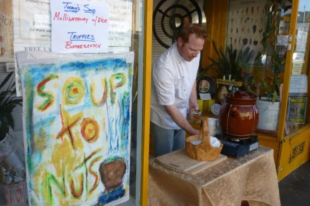 Patrick Bostwick dishing up soup at 980 Valencia Street