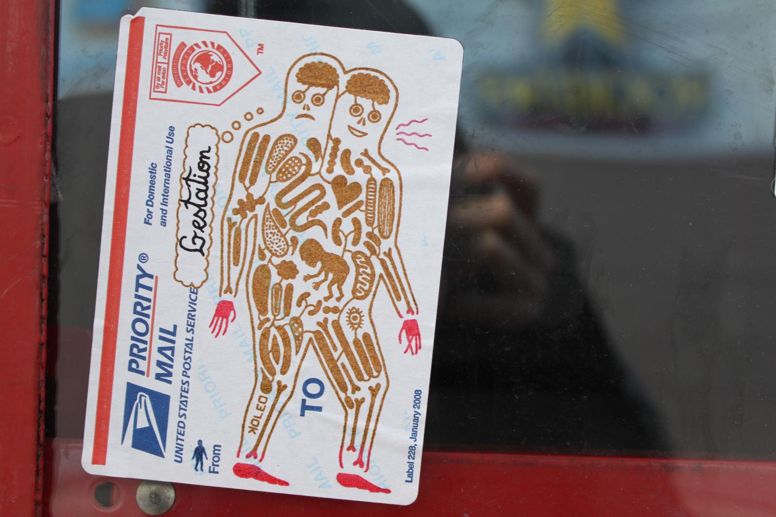 Gestation on a Postal Label