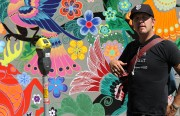 Jet Martinez in front of his most recent mural.