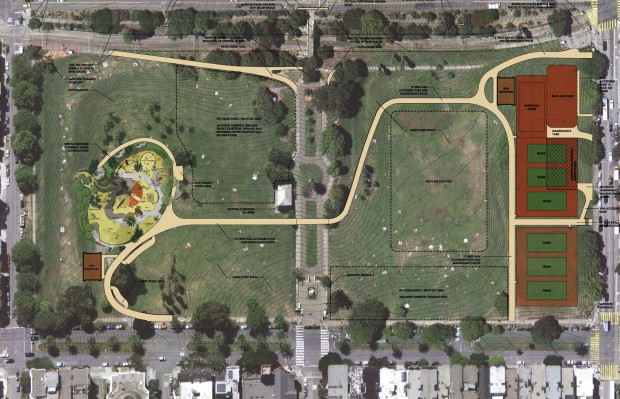 The draft of the plans for Dolores Park, as of the last community input meeting.