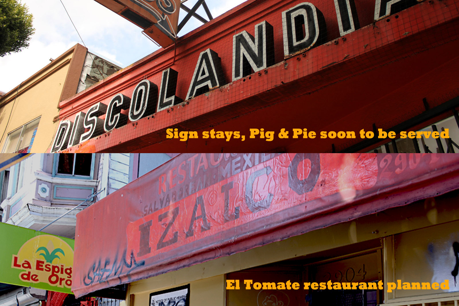 Discolandia Sign Stays, Two New Eateries Planned