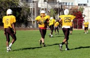 Mission High Varsity gets ready for another play during practice.