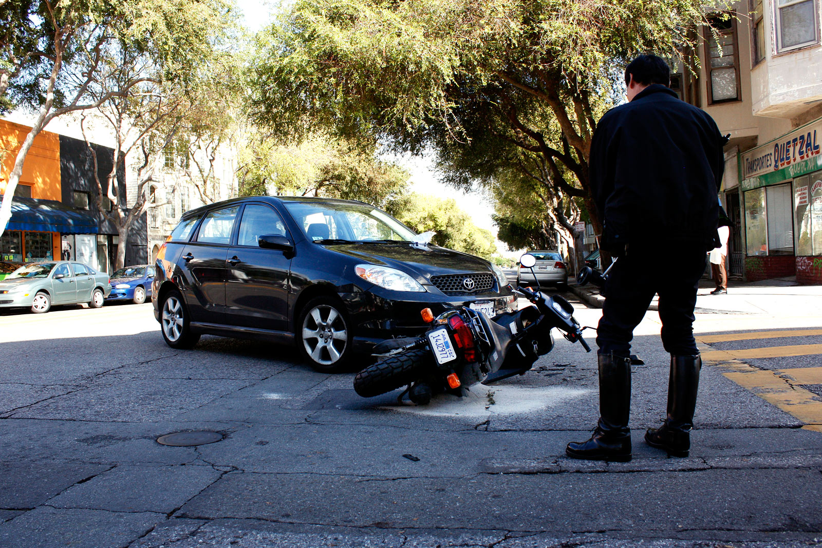 Car Crashes Into Motorbike at Folsom and 22nd Streets