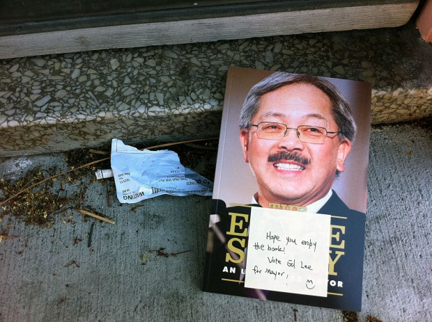 On Guerrero Sunday morning. Several doorsteps had the same book.  This photo is from October 2011. Now, Lee gets credit for attracting more tech jobs than Silicon Valley.
