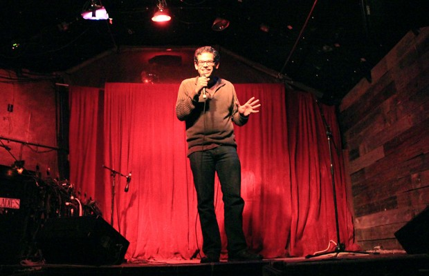 A comedian works the crowd on a recent Tuesday.  Photo by Kate Elston