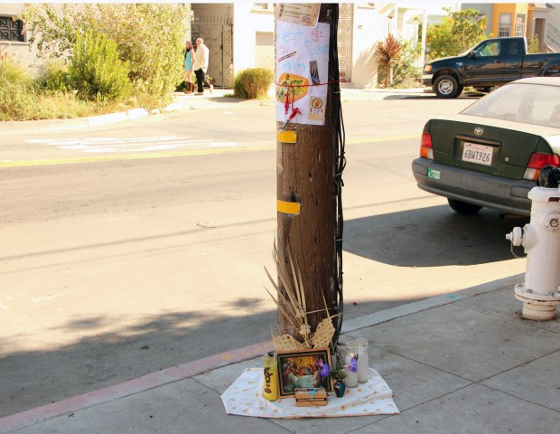 A memorial was set up for Reynaldo Cordova at the corner of 23rd and Harrison streets.