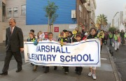 Dozens of Marshall Elementary Schools and Mayor Ed Lee walk to school as a part of international Walk to School Day.