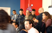 Photo illustration of Ed Lee at the opening ceremony of Pearls' Delux Burgers on Tuesday November 1.