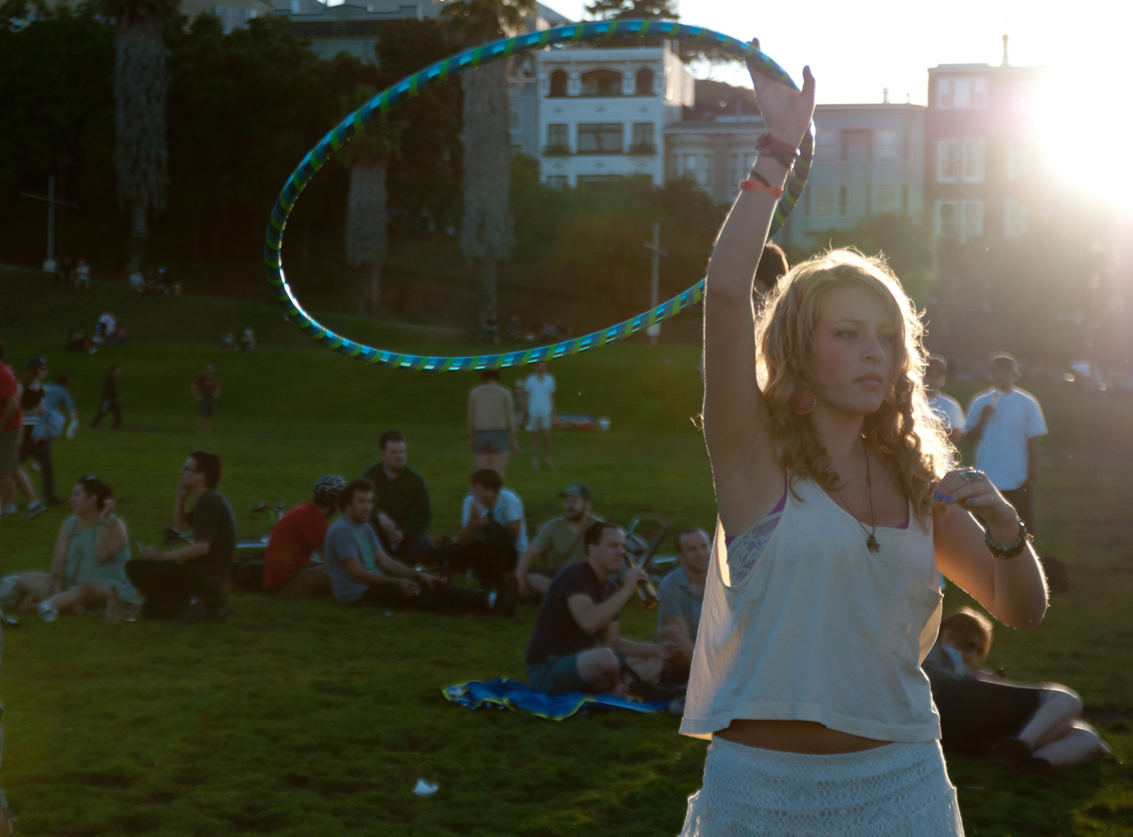 Woman in Dolores Park with a Hula Hoop. File photo.