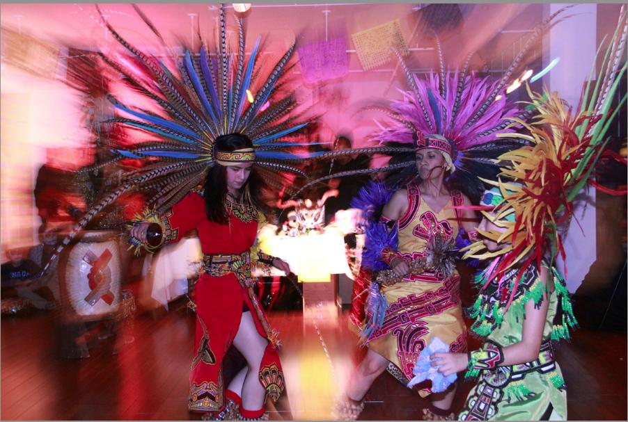 Aztec Dancers Glide at the Mission Cultural Center